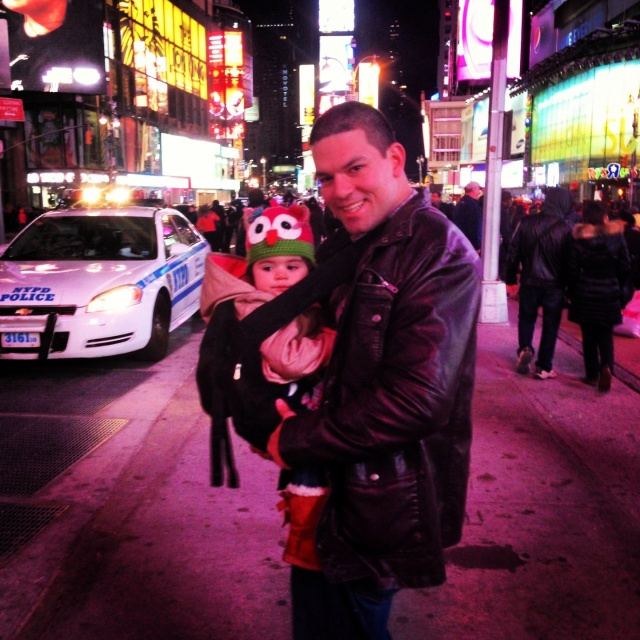 In Times Square with Daddy
